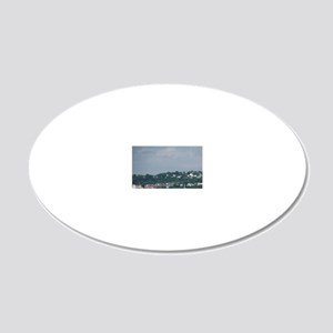 Halifax ferry in the distanc 20x12 Oval Wall Decal
