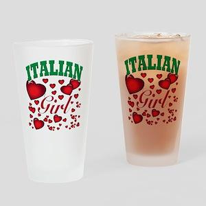 italian girl(blk) Drinking Glass