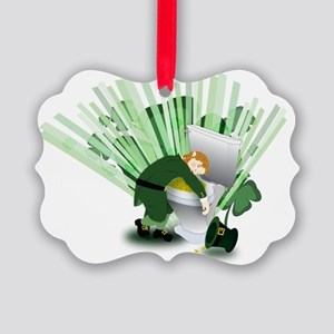 Passed Out Leprechaun Picture Ornament