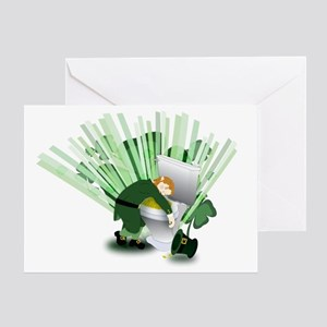 Passed Out Leprechaun Greeting Card
