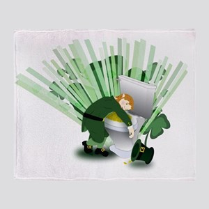 Passed Out Leprechaun Throw Blanket