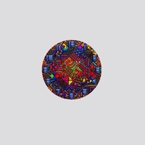 wallclock and abstract pattern copy Mini Button