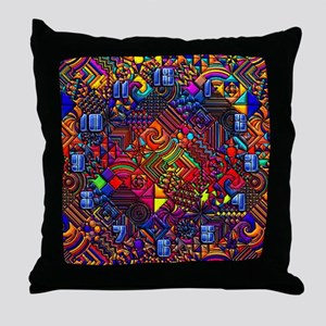 wallclock and abstract pattern copy Throw Pillow