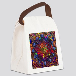 wallclock and abstract pattern co Canvas Lunch Bag