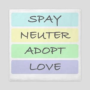 spay neuter adopt love 1-001 Queen Duvet