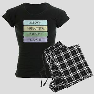 spay neuter adopt love 1-001 Women's Dark Pajamas