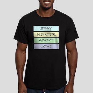 spay neuter adopt love Men's Fitted T-Shirt (dark)