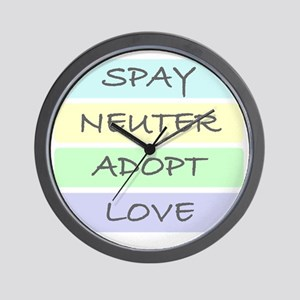 spay neuter adopt love 1-001 Wall Clock