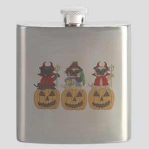 Halloween Trick or Treat Pugs Flask