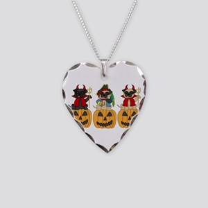 Halloween Trick or Treat Pugs Necklace Heart Charm