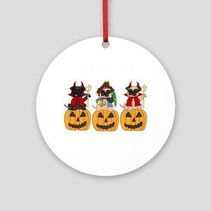 Halloween Trick or Treat Pugs Round Ornament