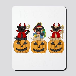 Halloween Trick or Treat Pugs Mousepad