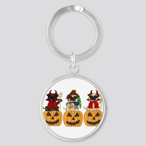 Halloween Trick or Treat Pugs Round Keychain
