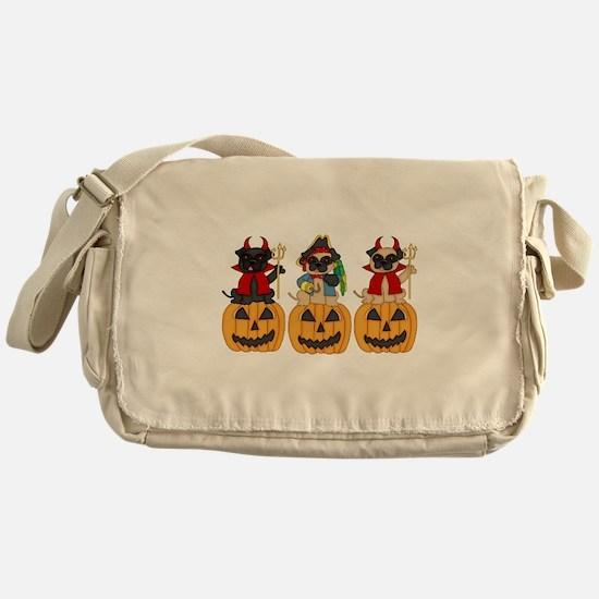 Halloween Trick or Treat Pugs Messenger Bag