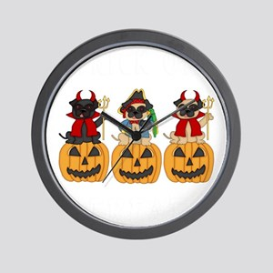 Halloween Trick or Treat Pugs Wall Clock