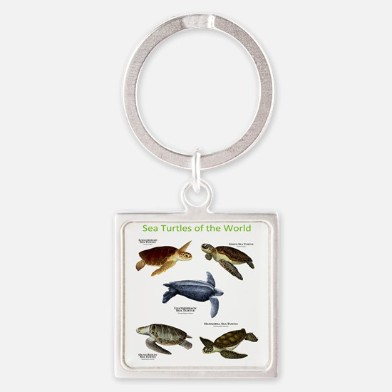 Sea Turtles of the World Square Keychain
