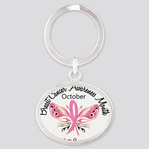 - Breast Cancer Awareness Month Oval Keychain