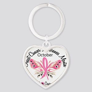 - Breast Cancer Awareness Month Heart Keychain
