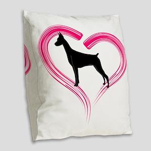 DobermanLove Burlap Throw Pillow