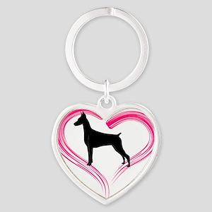 DobermanLove Heart Keychain