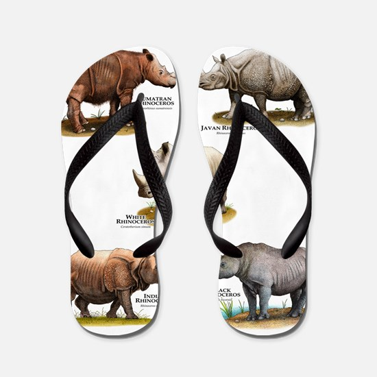 Rhinos of the World Flip Flops