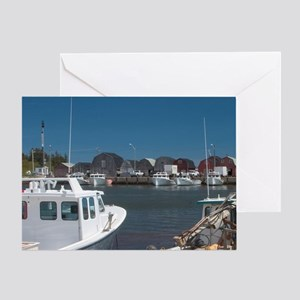 Malpeque Harbour. Fish sheds and lob Greeting Card