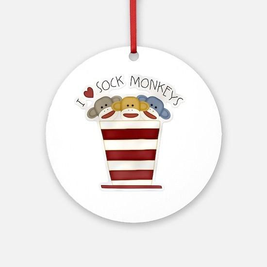 I love sock monkeys-001 Round Ornament