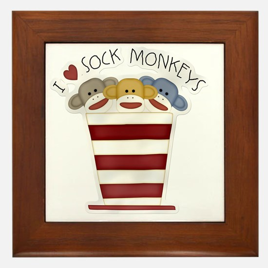 I love sock monkeys-001 Framed Tile