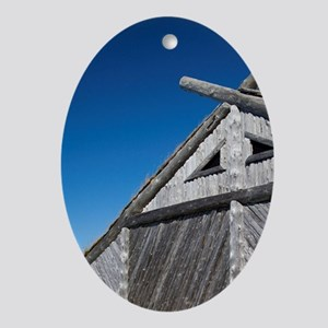 Replica of Norse boat house. Origina Oval Ornament
