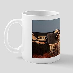 St Andrews. Shingled buildings overlook Mug