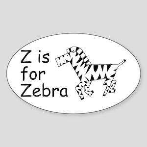 Z is for Zebra Oval Sticker