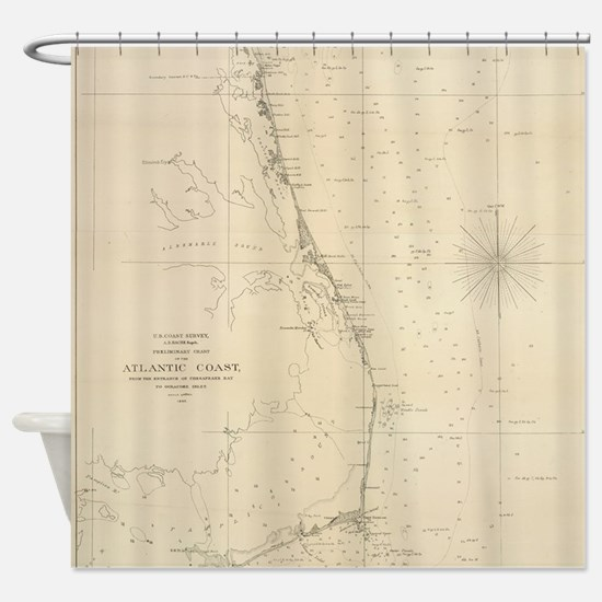 Vintage North Carolina and Virginia Shower Curtain