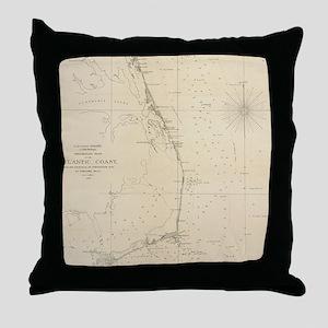 Vintage North Carolina and Virginia C Throw Pillow