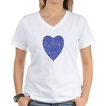 Blue Heart Women's V-Neck T-Shirt