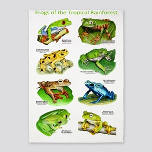 Frogs of the Tropical Rainforests 5'x7'Area Rug