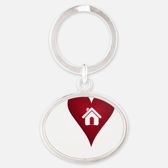 I Heart Real Estate Oval Keychain