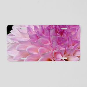 Pink dahlia flower close up Aluminum License Plate