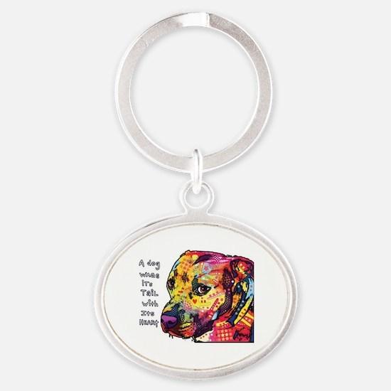 Cute Pit bull Oval Keychain