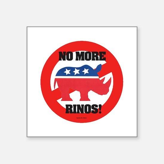 """Pol 3 No more Rhinos Circ B Square Sticker 3"""" x 3"""""""