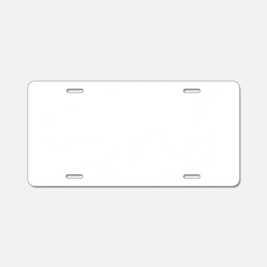 White Hunting Spinone Sillh Aluminum License Plate