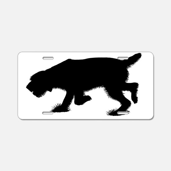 Hunting Spinone Sillhouette Aluminum License Plate