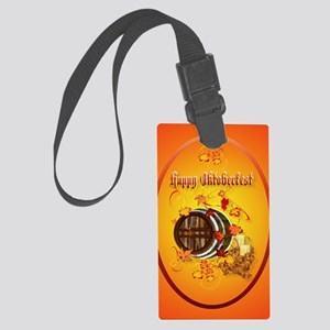 ornament_oval Big Beer-Happy Okt Large Luggage Tag