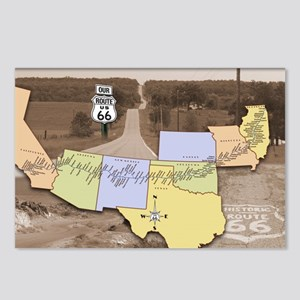 Route 66 Poster Sepia Postcards (Package of 8)