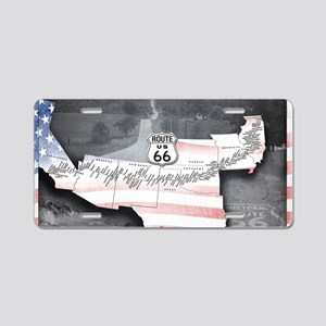 Route 66 Flag Poster Aluminum License Plate