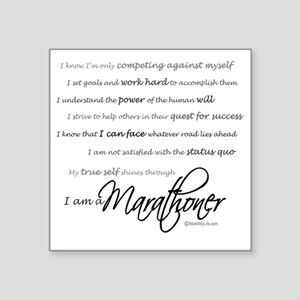 "I Am a Marathoner - Script Square Sticker 3"" x 3"""