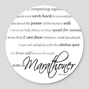 I Am a Marathoner - Script Round Car Magnet