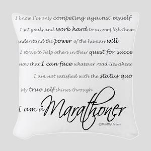 I Am a Marathoner - Script Woven Throw Pillow