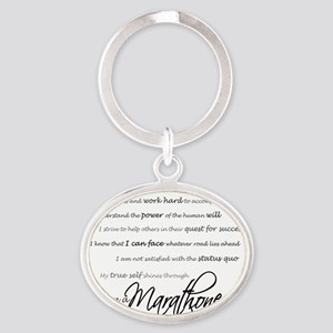 I Am a Marathoner - Script Oval Keychain