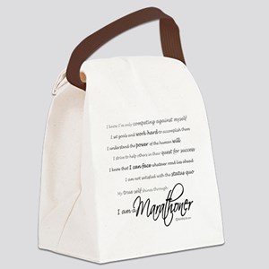 I Am a Marathoner - Script Canvas Lunch Bag