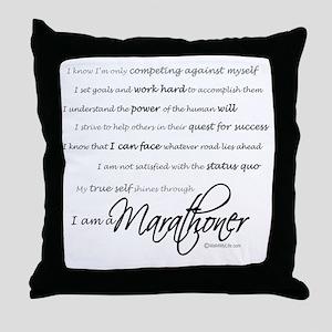 I Am a Marathoner - Script for light Throw Pillow